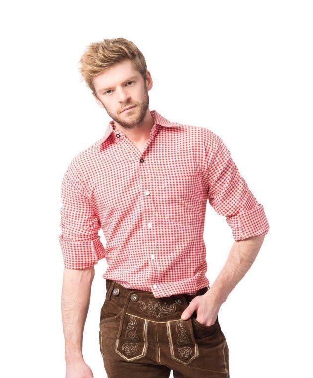 Overhemd Trachtenhemd Putzbrunn (Slim-fit) - Deluxe rood