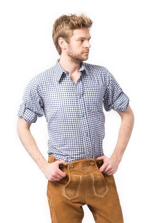 Overhemd Trachtenhemd Putzbrunn (Slim-fit) - Deluxe blauw