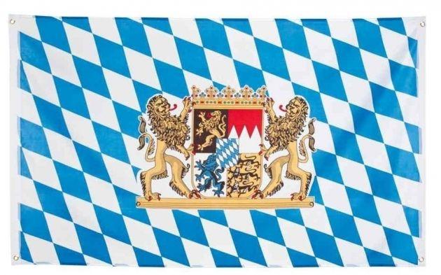 Vlag Deelstaat Bayern (met wapen) (90/150cm)