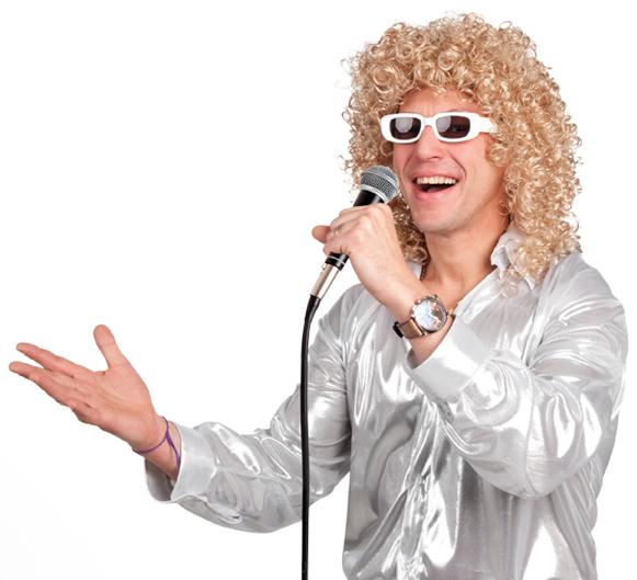 Pruik Duitse Schlager zanger + bril