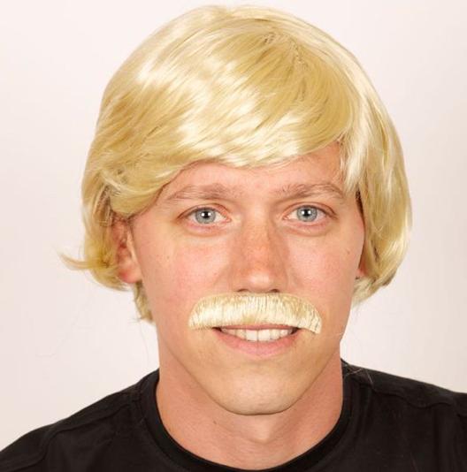 Heren pruik blond met snor / One-size