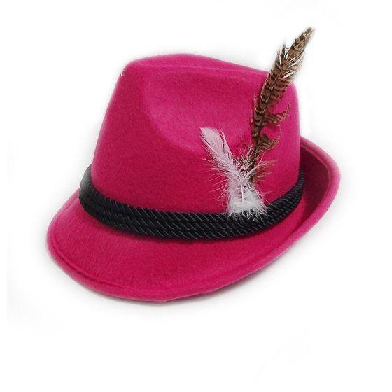 Tiroler Hoed Deluxe roze met veertje / One_Size