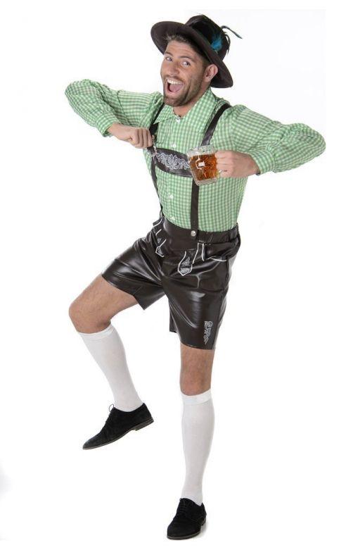 Lederhosen set: Der August - Lederhosen, shirt en hoedje - M