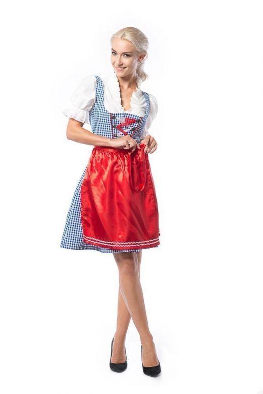 Dirndl Birgit Blauw met Rood
