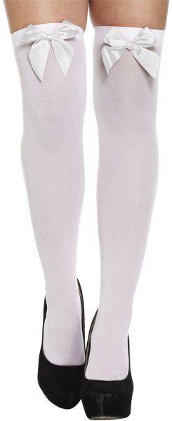 Witte Dirndl Kousen met witte strik (OneSize)