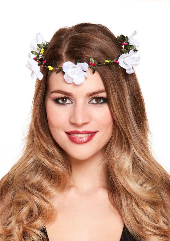 Tiara met bloemen wit