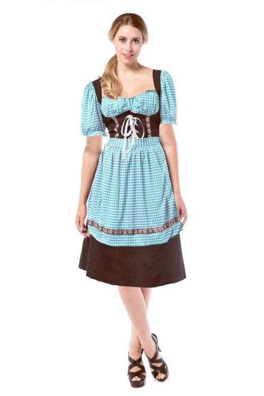 Dirndl Hannah Darkbrown/Blue / L